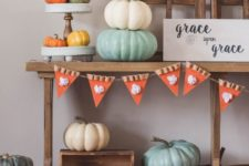 a modern console table decor for thanksgiving