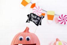 DIY colorful pumpkin monster candy bowl