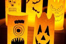 DIY paper monster Halloween luminaries