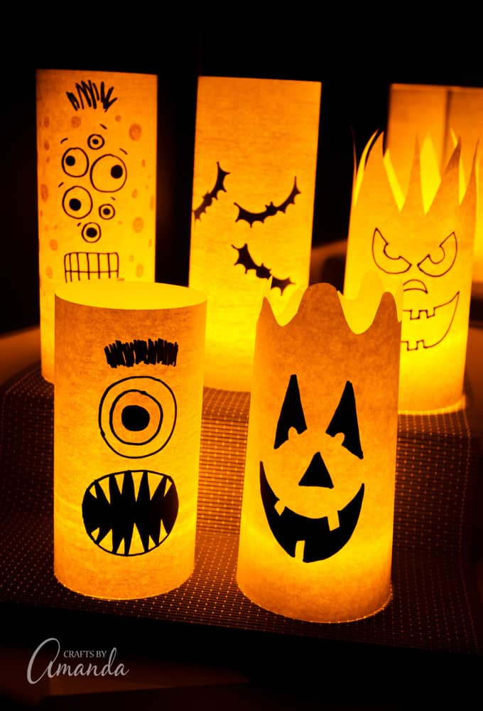 DIY paper monster Halloween luminaries (via craftsbyamanda.com)