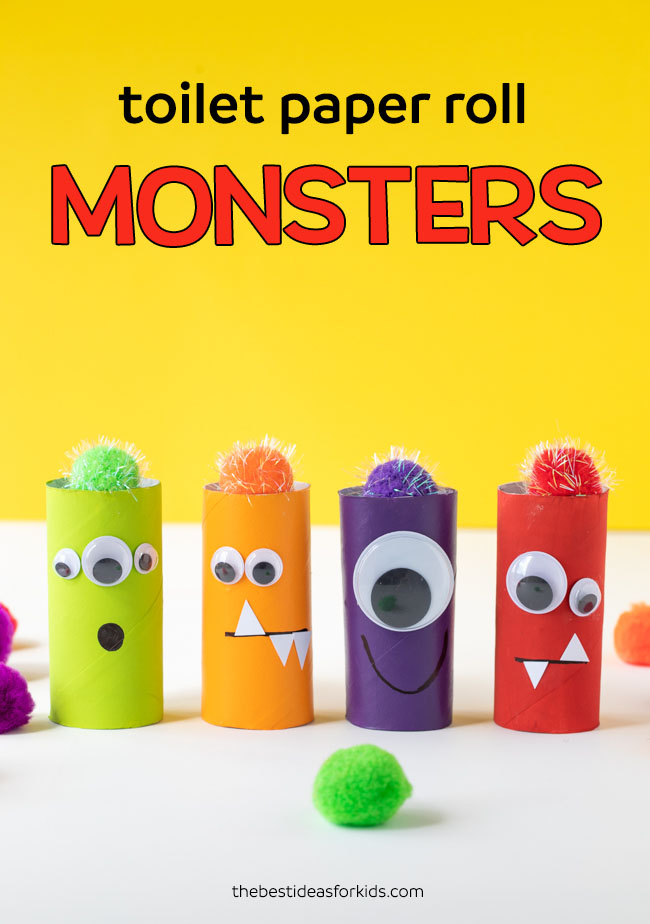 DIY colorful monsters of toilet paper rolls for Halloween (via www.thebestideasforkids.com)