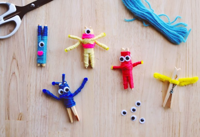 DIY colorful Halloween monsters inspired by Worry Dolls (via patchworkcactus.com)