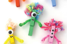 DIY colorful Halloween monsters of clothespins