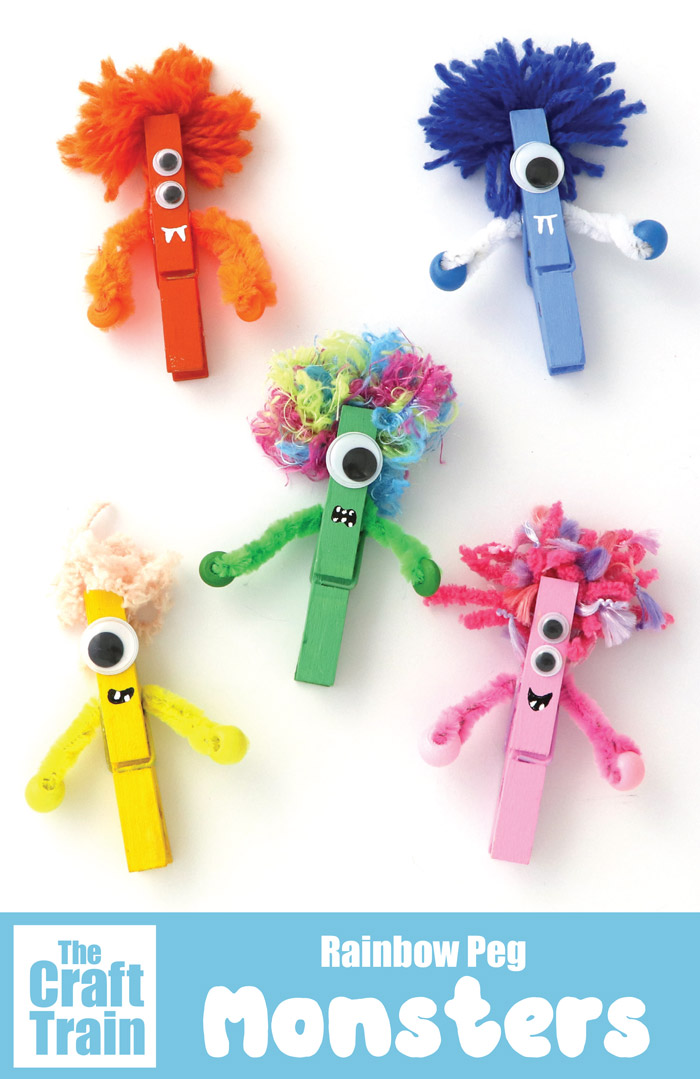 DIY colorful Halloween monsters of clothespins (via www.thecrafttrain.com)