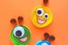 DIY colorful quilling monsters with googly eyes