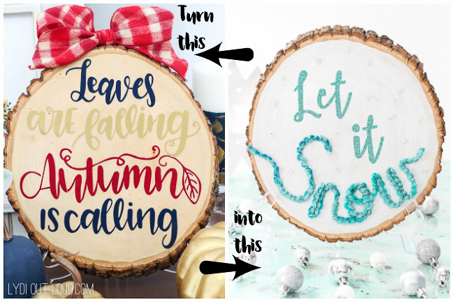 DIY reversible wood slice Thanksgiving and Christmas sign (via lydioutloud.com)