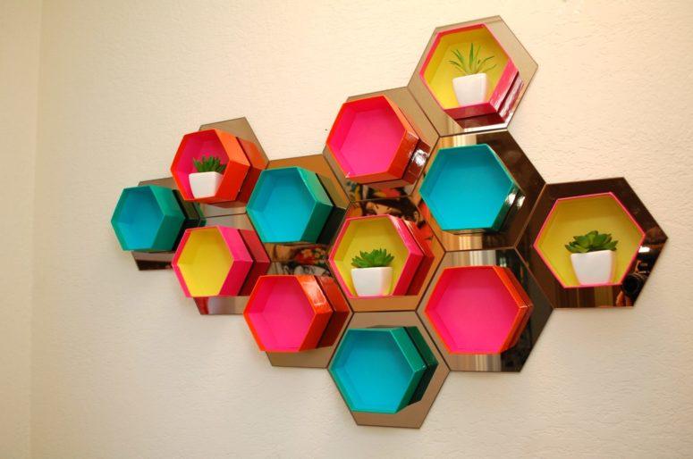 DIY colorful box shelving unit made of gift boxes (via jenniferperkins.com)