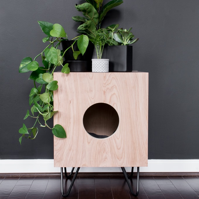 DIY retro-inspired box cat house on hairpin legs (via www.bybrittanygoldwyn.com)