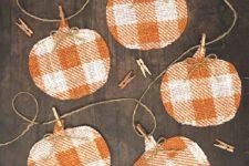 DIY buffalo check pumpkin banner with clothespins