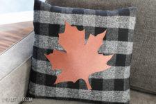 DIY buffalo check no sew pillowcase with a leaf