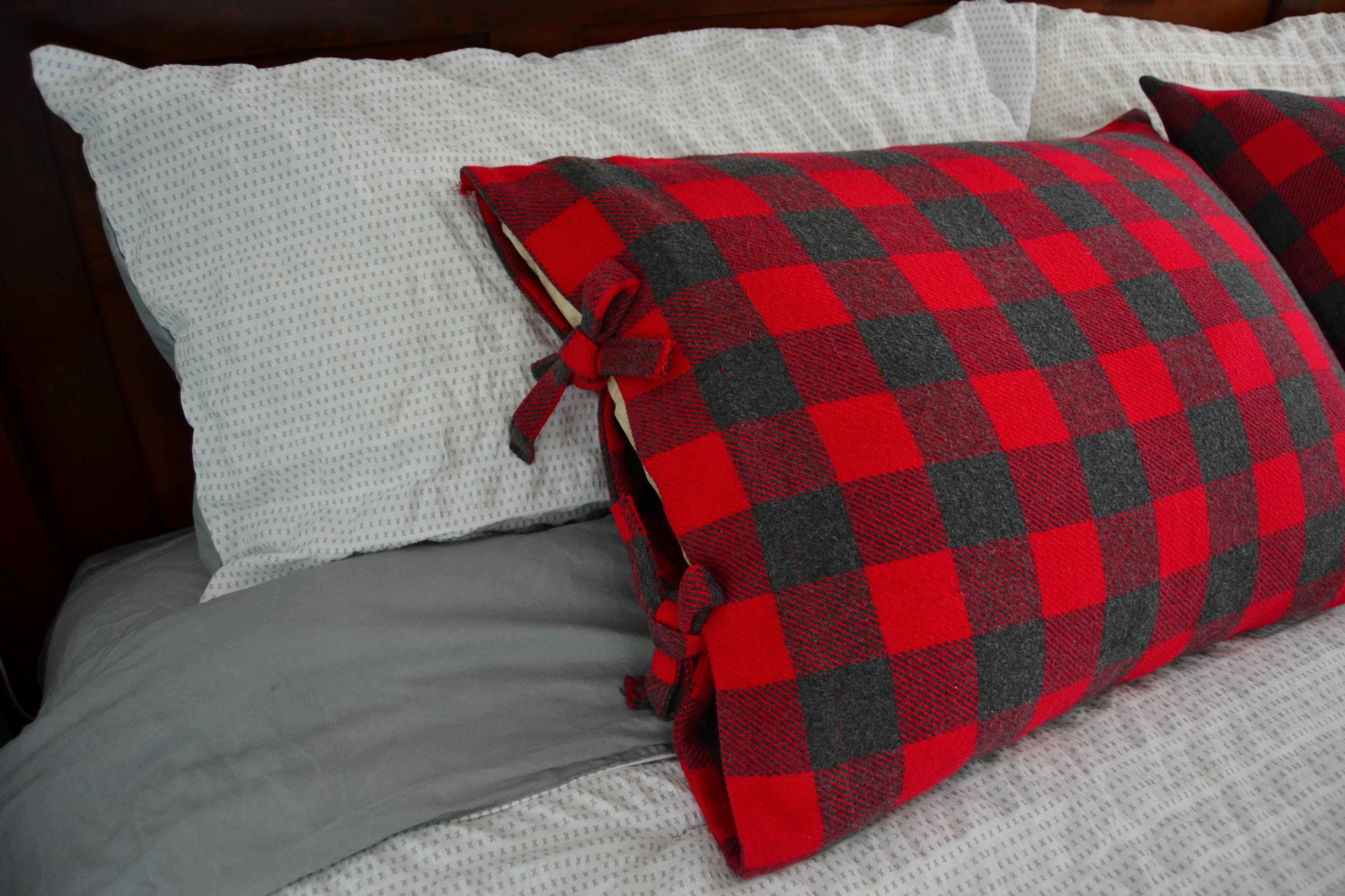DIY buffalo check pillowcase with ties