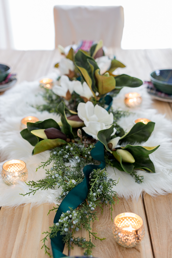 DIY modern magnolia winter centerpiece