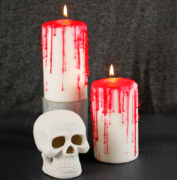 DIY bloody Halloween candles with red wax