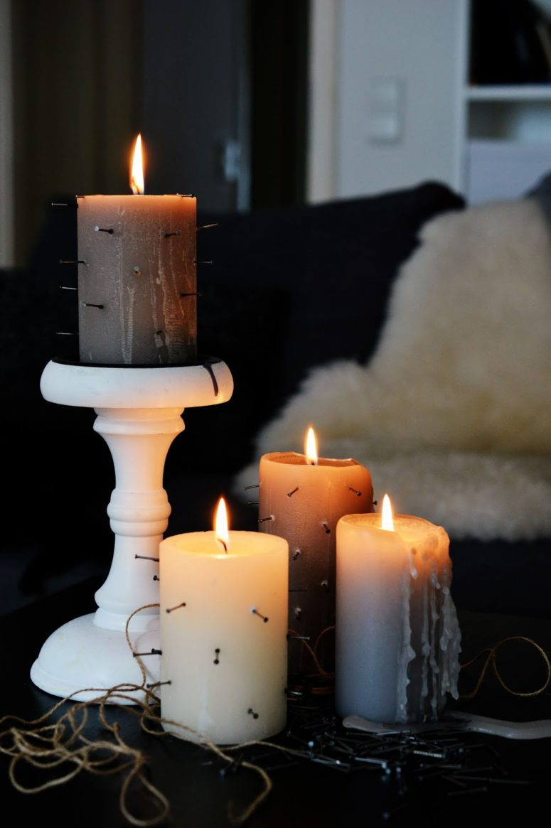 DIY tortured candles for Halloween (via mottesblog.blogspot.com)