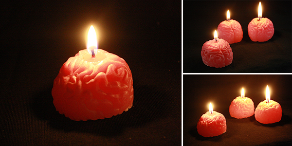 DIY brain candles using an ice cube tray