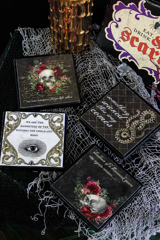 DIY vintage inspired decoupage Halloween coasters