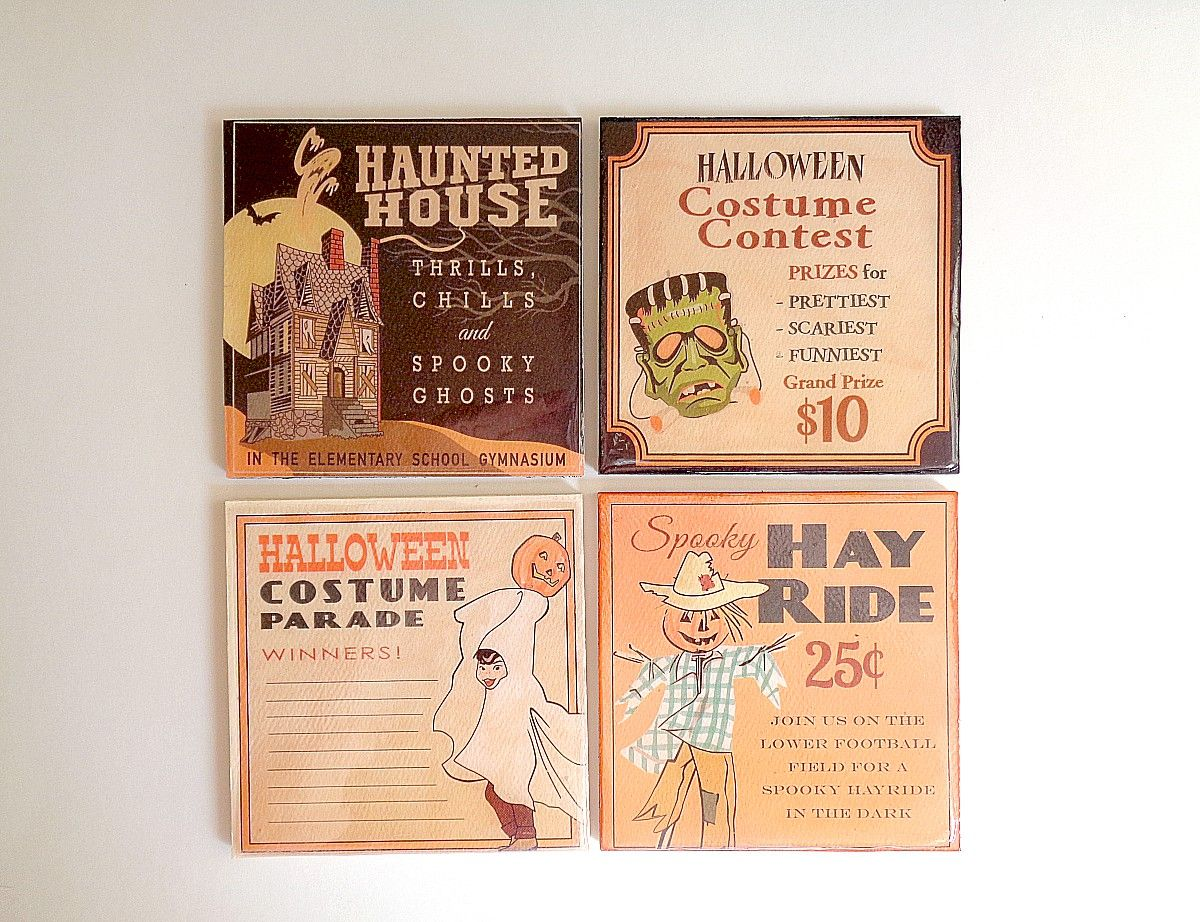 DIY last minute Halloween scrapbooking coasters