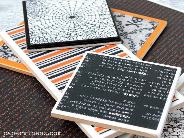 DIY black and white Halloween cork coasters  (via www.papervinenz.com)