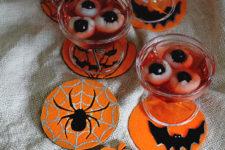 DIY orange and black felt Halloween coasters