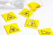 DIY contrasting blakc and yellow hazard Halloween coasters