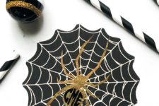 DIY black, white and gold spiderweb coasters for Halloween