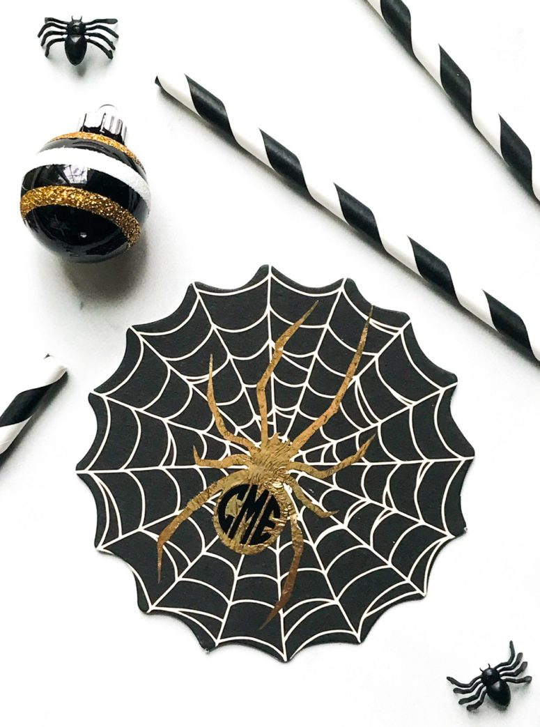 DIY black, white and gold spiderweb coasters for Halloween (via everydaypartymag.com)