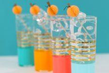 DIY paper honeycomb drink stirrers for Halloween
