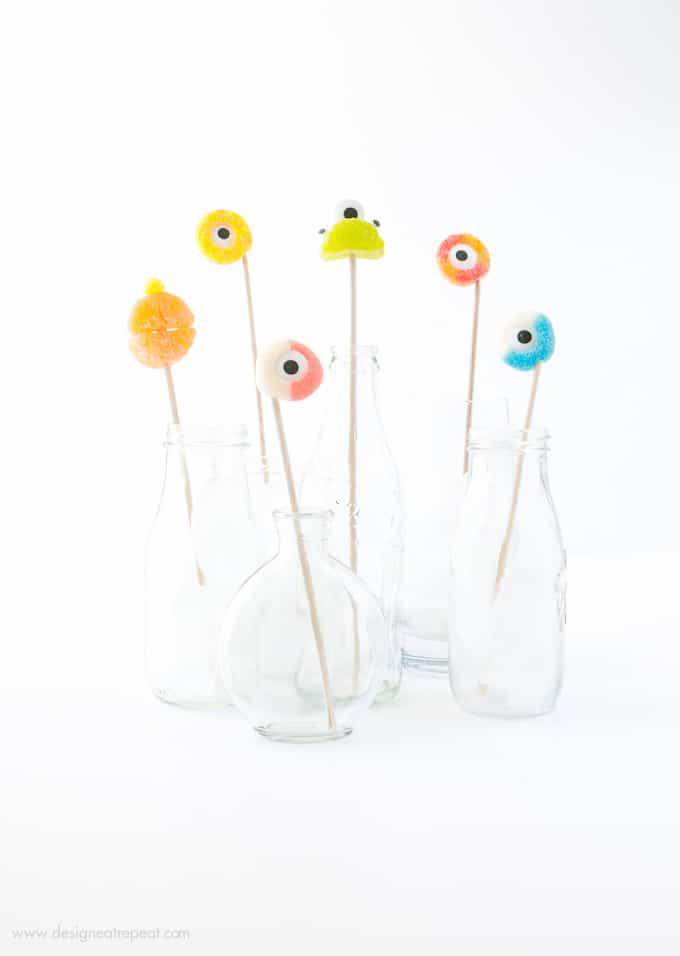 DIY gummy candy Halloween drink stirrers (via www.designeatrepeat.com)
