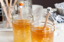 DIY Halloween drink stirrers using stickers