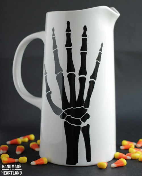 DIY black and white skeleton hand pitcher for Halloween