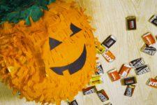 DIY carved pumpkin pinata for Halloween