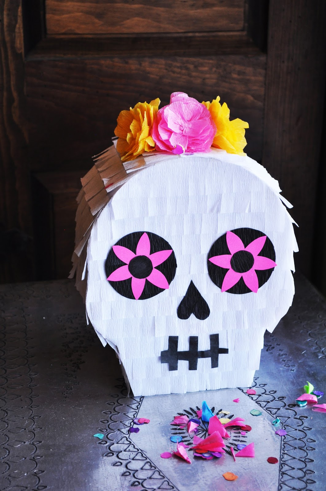 DIY sugar skull pinata for a Day of the Dead party
