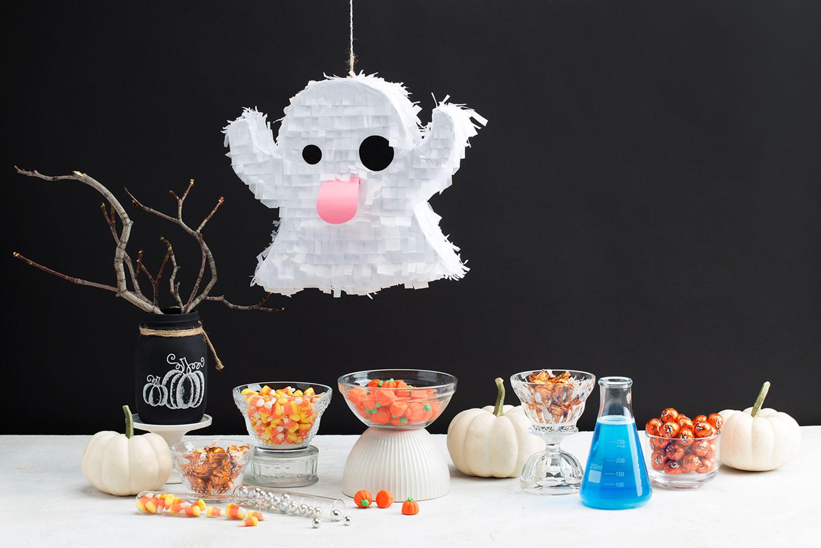 DIY cute and fun Halloween ghost pinata