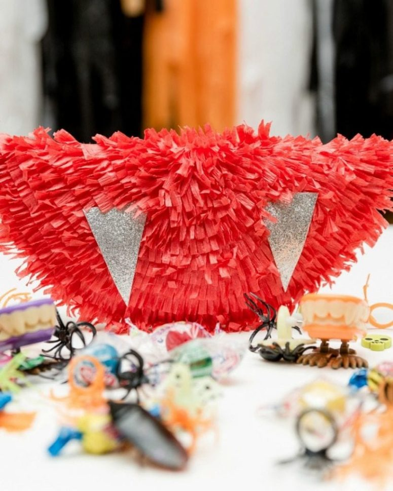 DIY little and cute vampire fang pinata for decor only (via jenniferperkins.com)