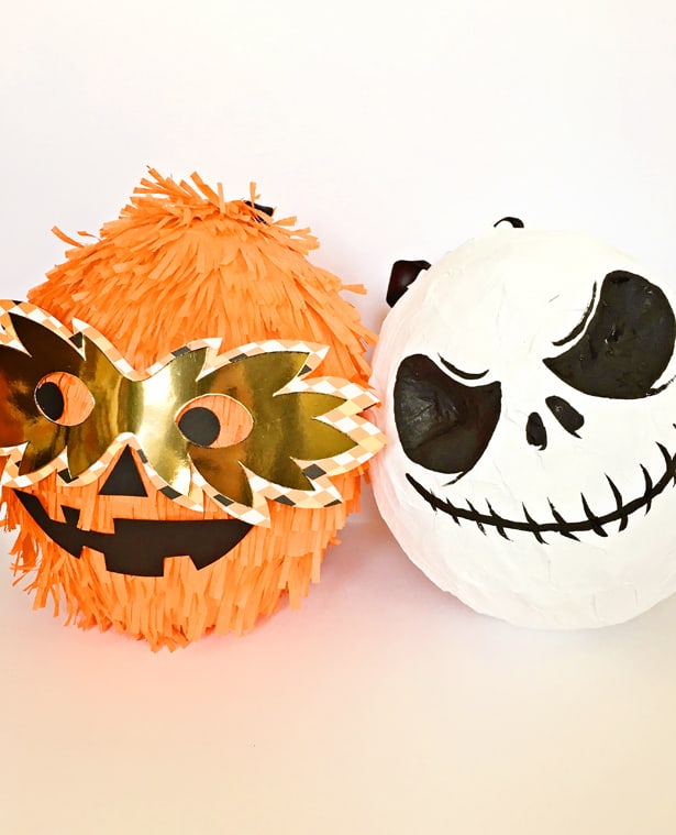 DIY Halloween pinatas - an orange and a monochromatic one (via www.hellowonderful.co)