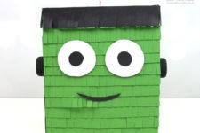 DIY bold Frankenstein pinata for kids' Halloween parties