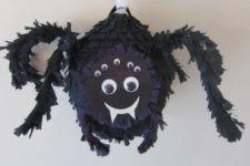 DIY cute black spider pinata for Halloween