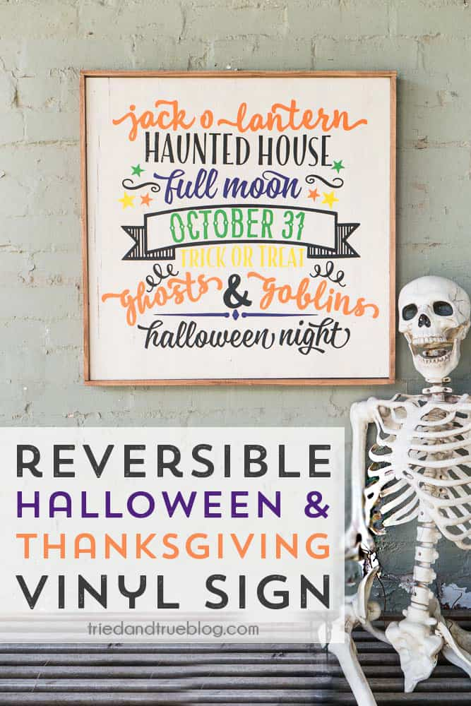 DIY reversible Halloween and Thanksgiving sign