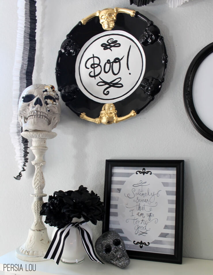 DIY Halloween plate renovation with skulls (via persialou.com)