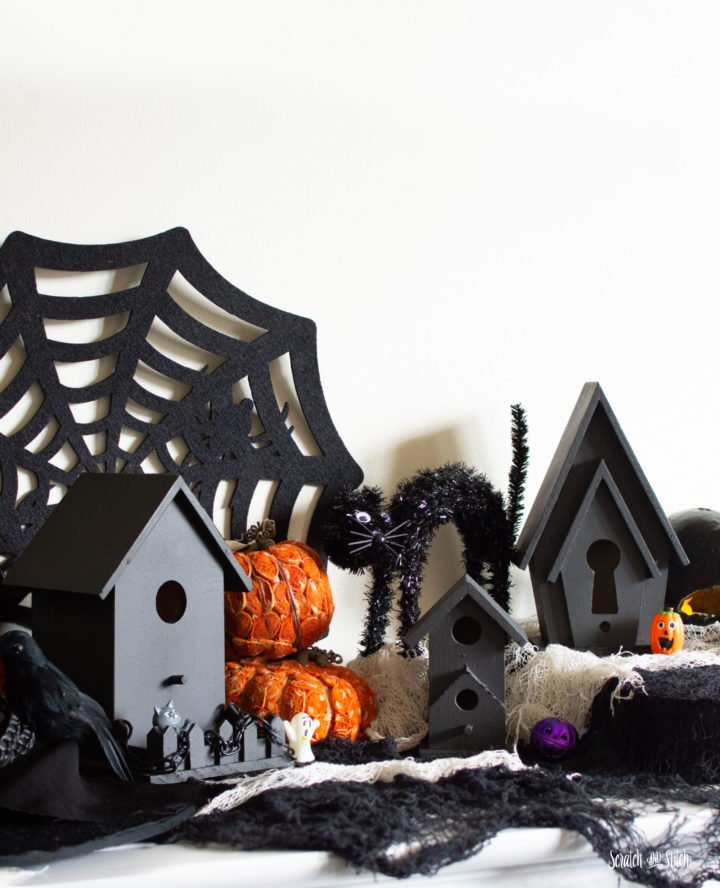 DIY haunted Halloween village using birdhouses
