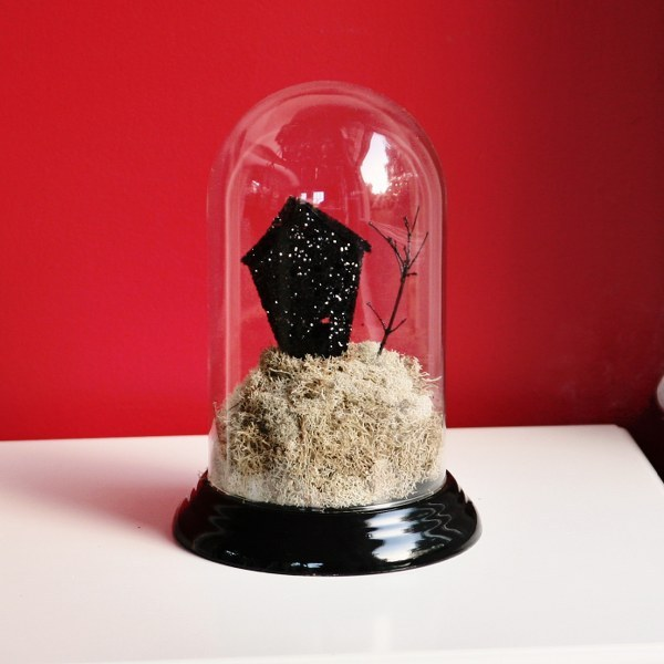 DIY glitter haunted house in a cloche for Halloween decor