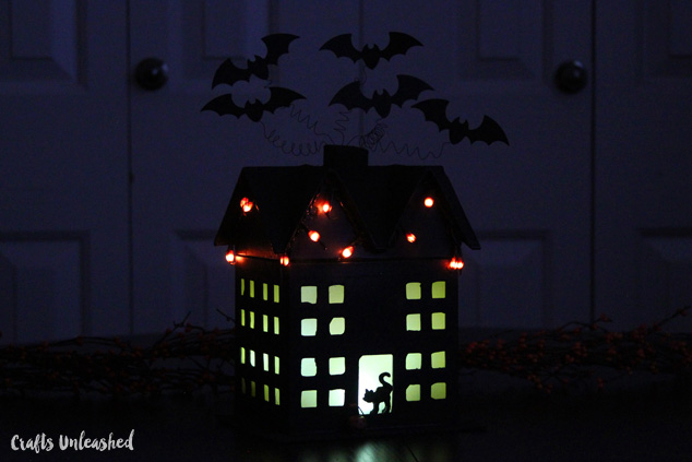 DIY haunted house luminary with lights