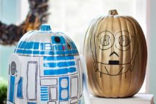 DIY R2D2 and C-3PO pumpkins for Halloween