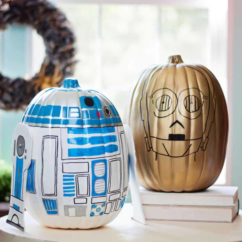 DIY R2D2 and C-3PO pumpkins for Halloween (via diycandy.com)