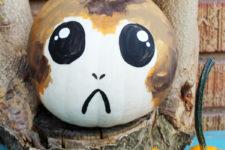DIY painted porg Halloween pumpkin