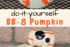DIY BB-8 Halloween pumpkin done with duct tape