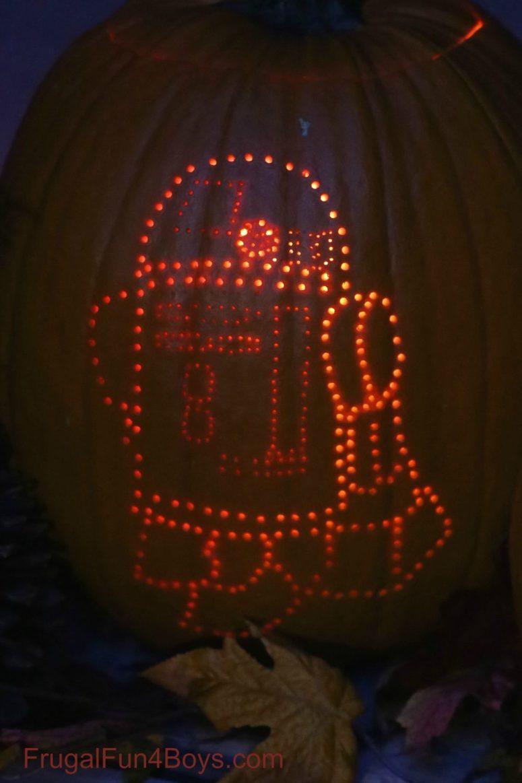 DIY drilled Halloween pumpkin lanterns with Star Wars characters (via frugalfun4boys.com)