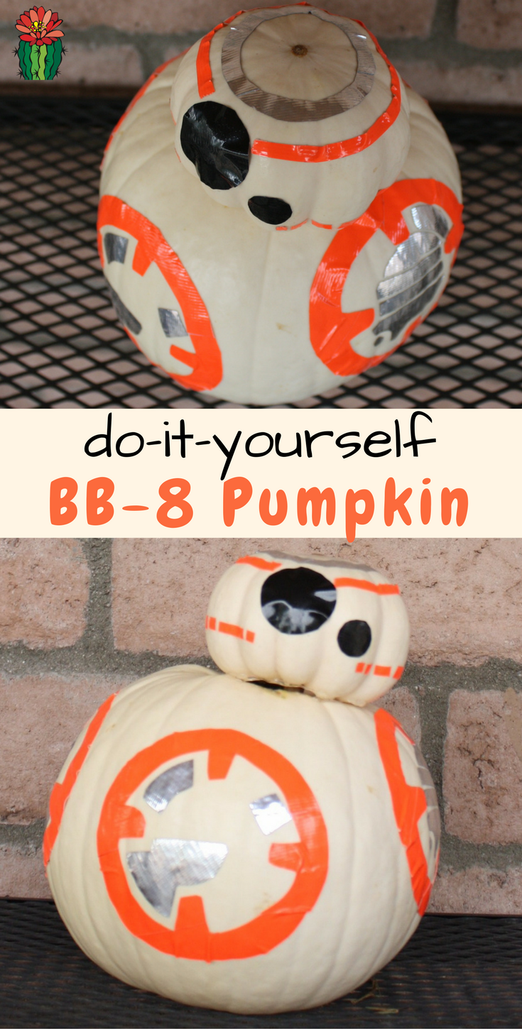 DIY BB-8 Halloween pumpkin done with duct tape (via desertchica.com)