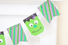 DIY mini Frankenstein Halloween bunting