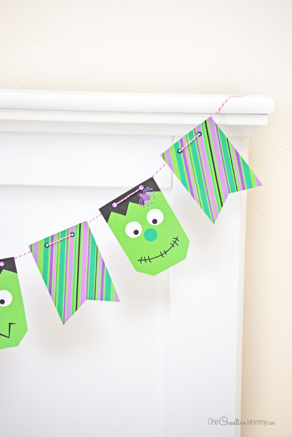 DIY mini Frankenstein Halloween bunting (via onecreativemommy.com)